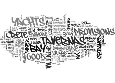 YACHT CHARTER IN SOUTHERN CRETE TEXT WORD CLOUD CONCEPT Illustration
