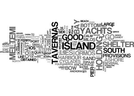 YACHT CHARTER IN THE CENTRAL CYCLADES TEXT WORD CLOUD CONCEPT