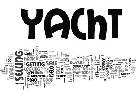 YACHT FOR SALE TEXT WORD CLOUD CONCEPT Illustration