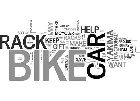 YAKIMA CAR BIKE RACKS TEXT WORD CLOUD CONCEPT Ilustração