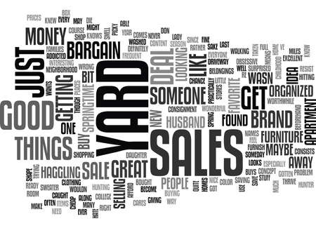 YARD SALES TEXT WORD CLOUD CONCEPT Illustration