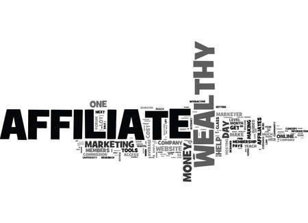 WEALTHY AFFILIATE REVIEW TEXT WORD CLOUD CONCEPT Illustration