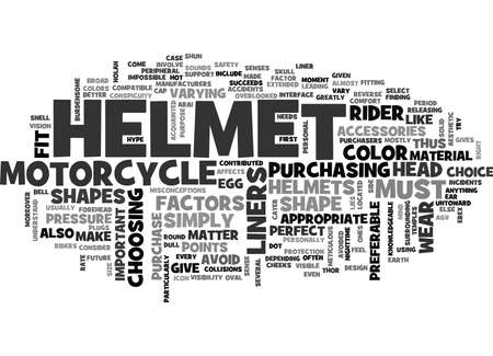 WEAR THE PERFECT FIT HELMET TEXT WORD CLOUD CONCEPT