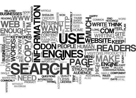 WEB COPY HOW MUCH IS ENOUGH TEXT WORD CLOUD CONCEPT