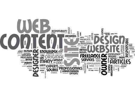 웹 디자인 콘텐츠 조달 텍스트 단어 개념 일러스트