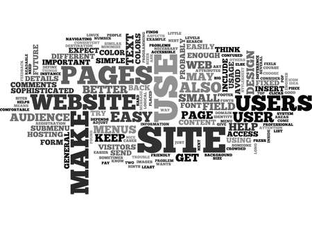 WEB DESIGN IS YOUR WEBSITE USER FRIENDLY TEXT WORD CLOUD CONCEPT