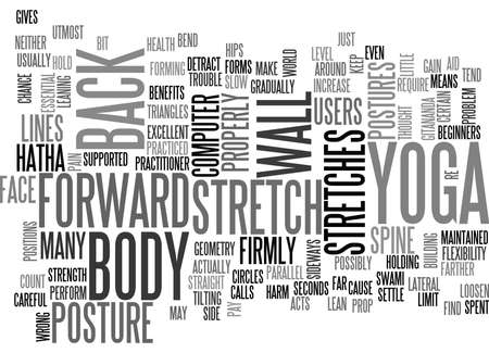 YOGA FOR COMPUTER USERS SUPPORTED SIDE STRETCHES TEXT WORD CLOUD CONCEPT Illustration