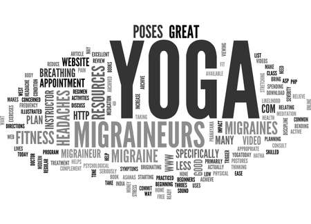 YOGA FOR MIGRAINES TEXT WORD CLOUD CONCEPT