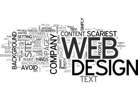 WEB DESIGNS SCARIEST MISTAKES TEXT WORD CLOUD CONCEPT
