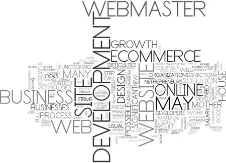 literally: WEB DEVELOPMENT THE MOTHER OF ECOMMERCE TEXT WORD CLOUD CONCEPT