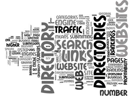 WEB DIRECTORIES INCREASE TRAFFIC AND PROFITABILITY TEXT WORD CLOUD CONCEPT Stock Vector - 79581489