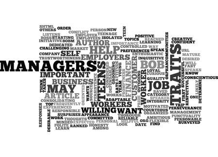 WHAT DO EMPLOYERS WANT FROM THEIR TEEN WORKERS TEXT WORD CLOUD CONCEPT Vektoros illusztráció