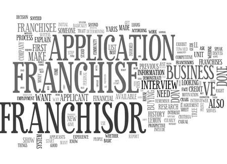 WHAT DO FRANCHISORS LOOK FOR IN A FRANCHISEE TEXT WORD CLOUD CONCEPT