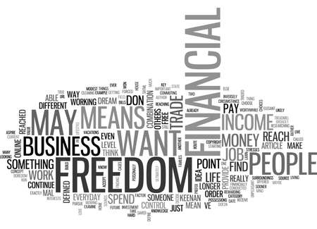 WHAT DOES FINANCIAL FREEDOM MEAN TO YOU TEXT WORD CLOUD CONCEPT 向量圖像