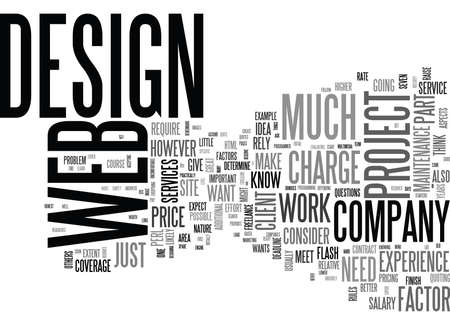 WEB DESIGN WORK AND HOW TO PRICE THE SERVICES TEXT WORD CLOUD CONCEPT Illustration
