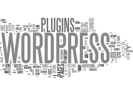 WHAT CAN WORDPRESS PLUGINS DO FOR YOU TEXT WORD CLOUD CONCEPT Stock Illustratie