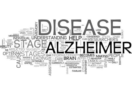 atrophy: WHAT ARE THE STAGES OF ALZHEIMER S DISEASE TEXT WORD CLOUD CONCEPT