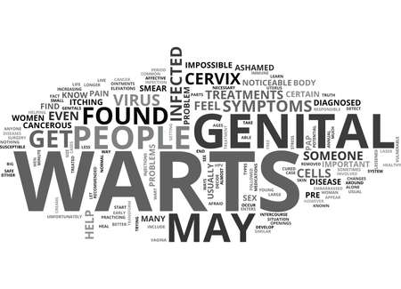 WHAT ARE THE SYMPTOMS AND TREATMENTS FOR GENITAL WARTS TEXT WORD CLOUD CONCEPT