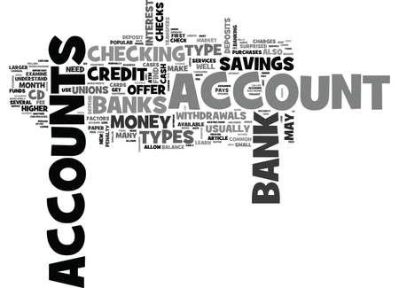 은행 계좌 텍스트 단어 구름 개념의 유형은 무엇입니까? 일러스트