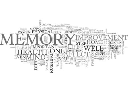 WHAT CAN I DO FOR MEMORY IMPROVEMENT TEXT WORD CLOUD CONCEPT Ilustração