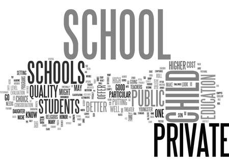 WHY PRIVATE SCHOOL FOR YOUR CHILD TEXT WORD CLOUD CONCEPT