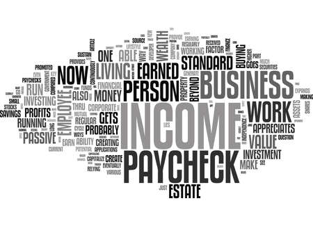 WHY PROFITS AND NOT A PAYCHECK CREATE WEALTH TEXT WORD CLOUD CONCEPT Ilustração