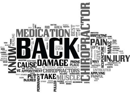 WHY PUT UP WITH BACK PAIN VISIT A CHIROPRACTOR TEXT WORD CLOUD CONCEPT Vektoros illusztráció