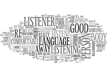 WHAT DOES YOUR BODY LANGUAGE TELL TEXT WORD CLOUD CONCEPT Illustration
