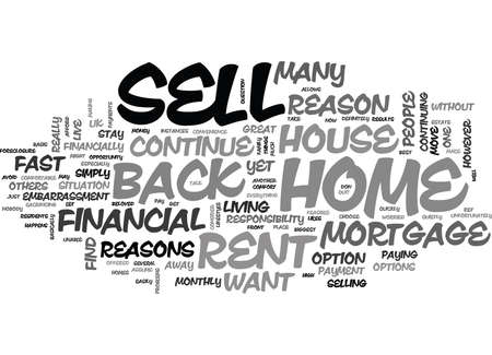WHY SHOULD I SELL MY HOUSE AND RENT IT BACK TEXT WORD CLOUD CONCEPT Ilustrace