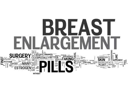 WOULD YOU LIKE TO BREAST ENLARGEMENT PILLS GUARANTEED TEXT WORD CLOUD CONCEPT 向量圖像