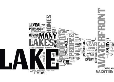 WOULD YOU LIKE TO LIVE NEAR A LAKE TEXT WORD CLOUD CONCEPT 向量圖像