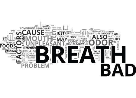 WHAT ARE THE FACTORS THAT CAUSE BAD BREATH TEXT WORD CLOUD CONCEPT