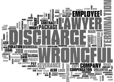 wrongful: WRONGFUL DISCHARGE LAWYER TEXT WORD CLOUD CONCEPT