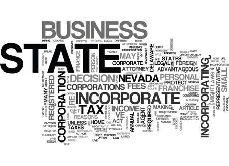 WHO SHOULD INCORPORATE OUT OF STATE TEXT WORD CLOUD CONCEPT Illustration