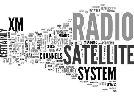 xm: XM SATELLITE RADIO SYSTEM TEXT WORD CLOUD CONCEPT