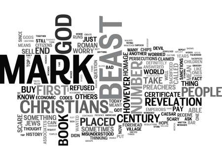 WHO WILL RECEIVE THE MARK OF THE BEAST TEXT WORD CLOUD CONCEPT Illustration