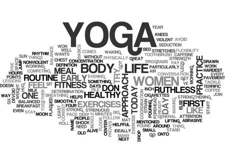 YOGA FOR WOMEN BASIC YOGA LESSONS FOR WOMEN TEXT WORD CLOUD CONCEPT