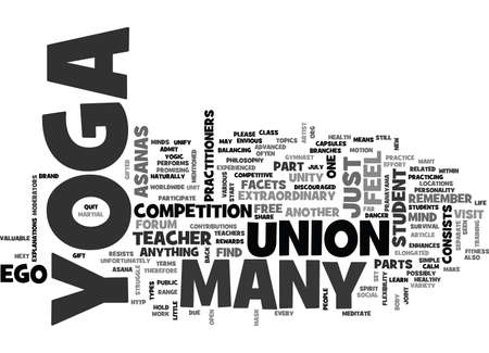 YOGA IS UNITY TEXT WORD CLOUD CONCEPT