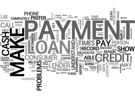 WHAT IF I CANNOT MAKE A LOAN PAYMENT TEXT WORD CLOUD CONCEPT Illusztráció
