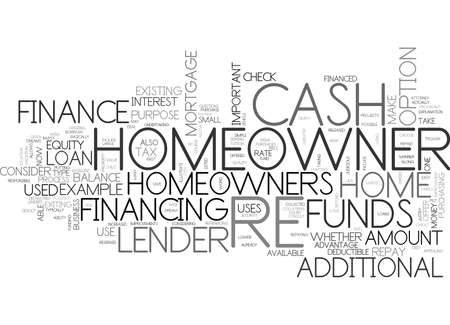 WHAT IS A CASH OUT RE FINANCE TEXT WORD CLOUD CONCEPT