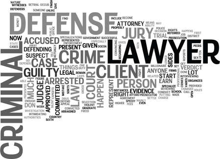 WHAT IS A CRIMINAL DEFENSE LAWYER TEXT WORD CLOUD CONCEPT