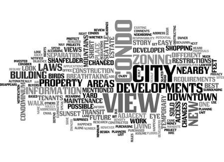 YOUR CONDO VIEW ENJOY IT WHILE YOU CAN TEXT WORD CLOUD CONCEPT Vettoriali