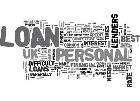 YOUR FINANCIAL PARTNER PERSONAL LOAN UK TEXT WORD CLOUD CONCEPT Иллюстрация