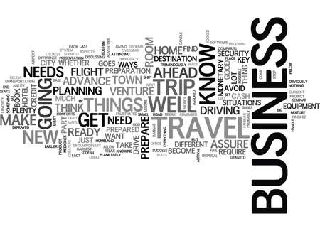 YOUR FIRST BUSINESS TRIP TEXT WORD CLOUD CONCEPT