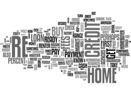 YOUR FIRST HOME LOAN WHAT YOU NEED TO KNOW TEXT WORD CLOUD CONCEPT Ilustração