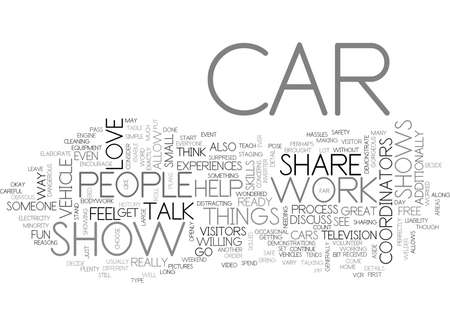 WHAT CAN YOU DO AT CAR SHOWS TEXT WORD CLOUD CONCEPT