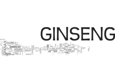 WHAT GINSENG IS AND WHAT IT DOES TEXT WORD CLOUD CONCEPT Vettoriali