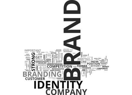 WHAT IS BRAND IDENTITY TEXT WORD CLOUD CONCEPT Illustration