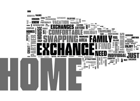 testify: WHAT IS HOLIDAY HOME EXCHANGE TEXT WORD CLOUD CONCEPT