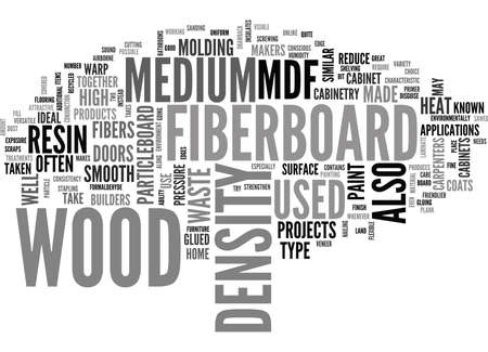WHAT IS MEDIUM DENSITY FIBERBOARD AND WHAT IS IT GOOD FOR TEXT WORD CLOUD CONCEPT Ilustração
